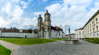 St. Gallen, SG / Switzerland - April 8, 2019: historic cathedral and monastery in the Swiss city of St. Gallen