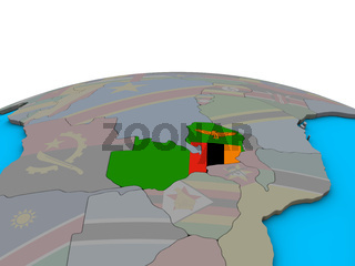 Map of Zambia with flag on globe