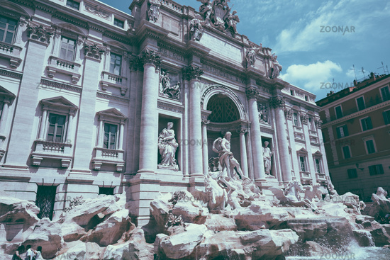 Panoramic view of Trevi Fountain in the Trevi district in Rome, Italy