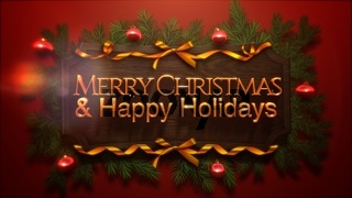 Merry Christmas and Happy Holidays text, red balls and green branch