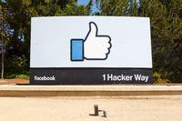 Facebook headquarter headquarters HQ thumbs up like logo sign
