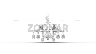 3d rendering of a combat helicopter isolated in white background