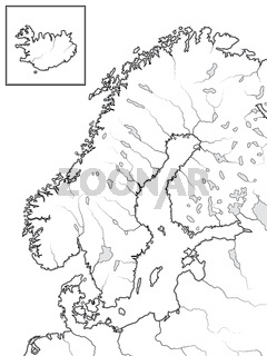 Map of The SCANDINAVIAN Lands: Scandinavia, Sweden, Norway, Finland, Denmark & Iceland. Geographic chart.