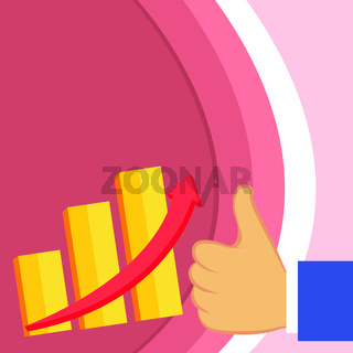 Flat photo Design of Growing Business Bar Chart with Arrow Pointing Up and Thumb Up for Good Performance. Creative Flat Design of Escalating Bar Graph
