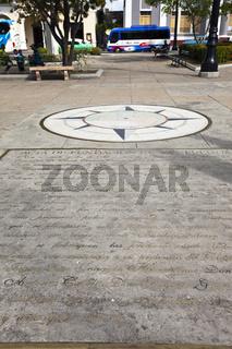 CUBA- FEBRUARY 03, 2013: Zero kilometer sign with foundation of city declaration Jose Marti square i