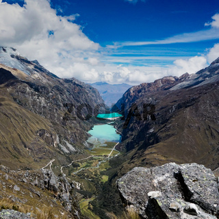 beautiful mountain valley with turquoise lakes and great scenery in the Andes of Peru