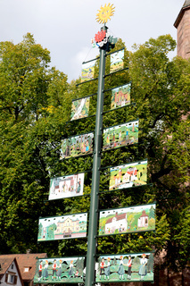 Large tree shaped signpost with colorful pictures