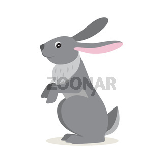 Icon of gray hare isolated, forest, woodland animal