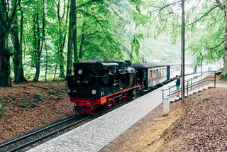 Train in Jagdschloss station, a narrow-gauge railway, in woodland area of Granitz, in Rugen Island, Germany