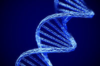 Concept of future genetic technology: 3D digital DNA double helix molecule.