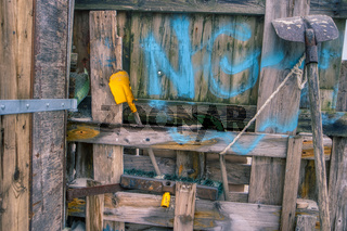AMRUM, GERMANY - DECEMBER 28, 2018: On the Kniepsand Beach of  the North Frisian Island Amrum in Germany Land-Artists made Beach Huts and other Objects out of Flotsam and Jetsam