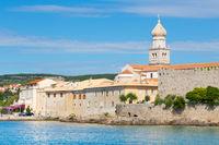 Panoramic view of Krk town, Mediterranean, Croatia, Europe