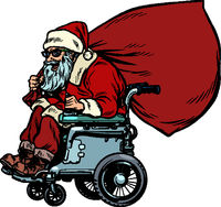 Santa Claus is an active wheelchair user disabled. Christmas and New year