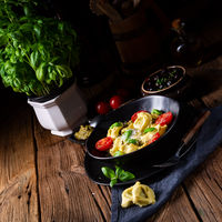 rustic spinach tortellini with cheese and cocktail cocktail tomatoes