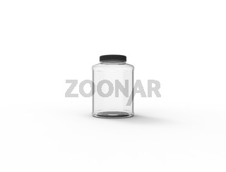 3d rendering of a plastic glass jar isolated on white background