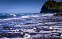 Black Sand Pebble Beach in Pololu Valley, Hawaii