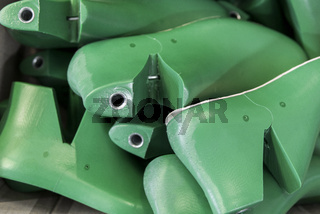 Plastic lasts used in the manufacture of shoes. Row of plastic shoe lasts used to manufacture modern day shoes. The equipment used for shoe design.