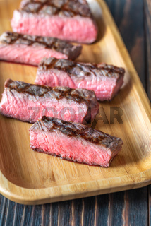 Slices of strip steak