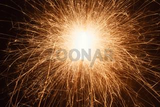 Long Exposure Of Burning Sparkler At Night