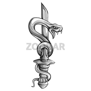 Vector tattoo dagger with snake. Dagger decorated with large blue sapphire. Snake wraps around ancient oriental dagger. Old school style. Traditional Tattoo Design.