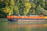 River navigation in France. Barge on Seine.