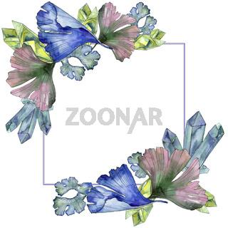 Ginkgo leaf. Leaf plant botanical garden floral foliage. Frame border ornament square.