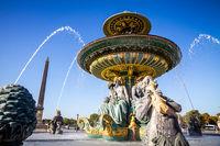 Fountain of the Seas and Louxor Obelisk, Concorde Square, Paris