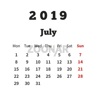 Simple calendar on july 2019 year with week starting from monday isolated on white