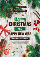 Merry Christmas banner, Xmas Party with gifts box, green pine branches, candy stick, anise, candles, cinnamon. Holiday Event posters, greeting cards, headers, website. Objects viewed from above.