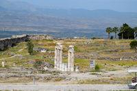 Antique ruins and limestone blocks in Hierapolis, Turkey. Ancient city.