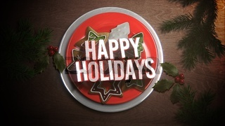 Happy Holidays text, Christmas candy on wood background