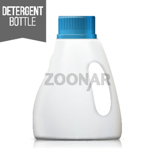 Detergent Bottle Vector. Plastic Detergent Container Isolated On White Background Illustration