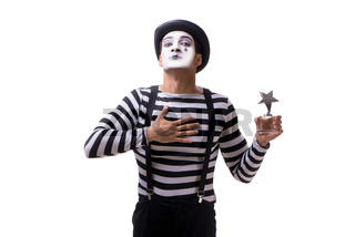 Mime with star award isolated on white background