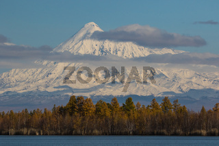 The shore of the lake is covered with forest in the background of the Kamchatka volcano in the late autumn