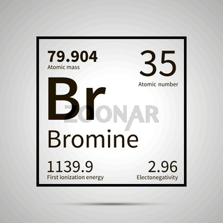Bromine chemical element with first ionization energy, atomic mass and electronegativity values ,simple black icon with shadow
