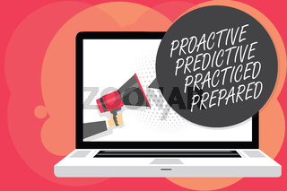 Word writing text Proactive Predictive Practiced Prepared. Business concept for Preparation Strategies Management Man holding Megaphone loudspeaker computer screen talking speech bubble.