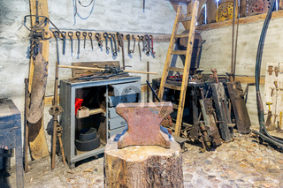 Dutch rural open-air museum with smithy and old historical tools