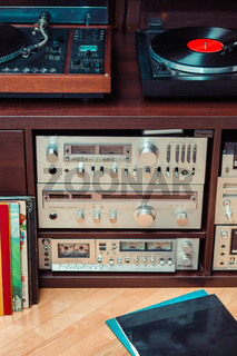 Set of audio equipment, record players, amplifiers, radio and vinyl records