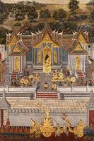 White pagoda in Wat Phra Kaew mural