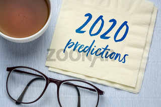 2020 predictions text on a napkin