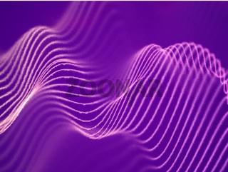 3D visualization of sound waves. Big data or information concept: Pink chart.