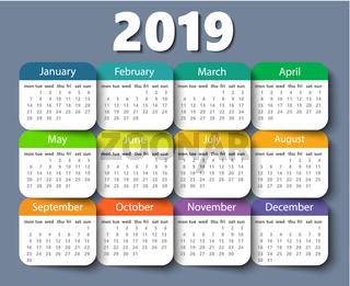 Calendar 2019 year vector design template. Week starting on Monday