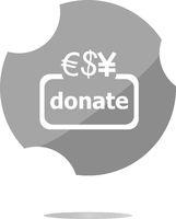 Donate sign icon. Dollar usd, yen and euro symbol