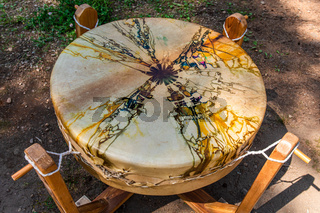 Sacred mother drum on the ground