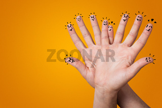 Happy fingers with brainstorming concept